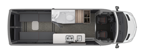 Layout of the Airstream Interstate 24X campervan.