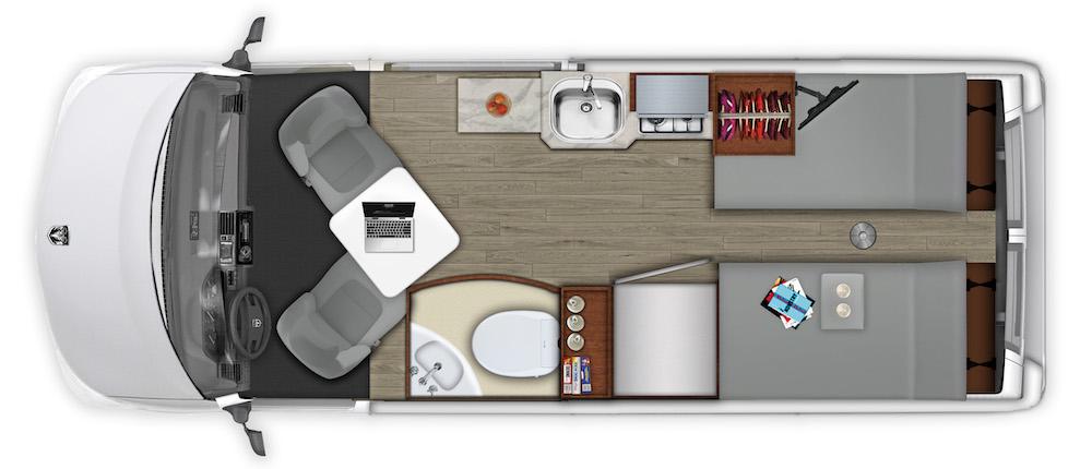 Roadtrek Plan camper van floor plan.
