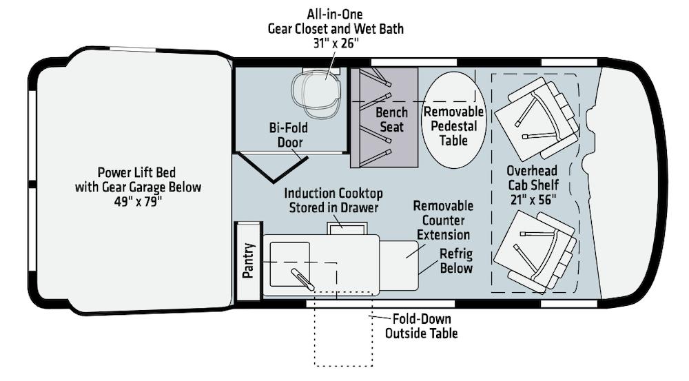 Winnebago Class B RV floorplan.