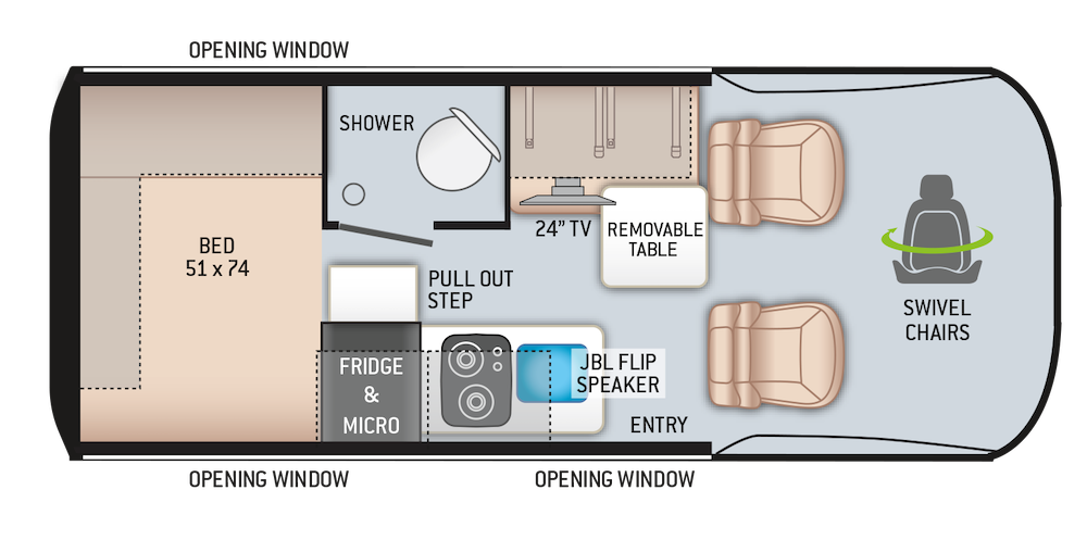 Thor Sanctuary (and Tranquility) 19L Class B RV floor plan.