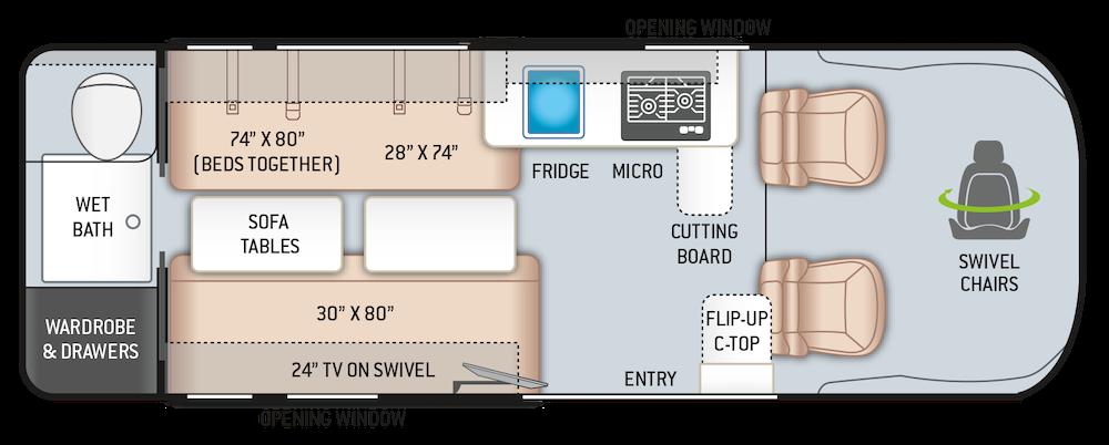 Thor Sequence 20L campervan RV floorplan.