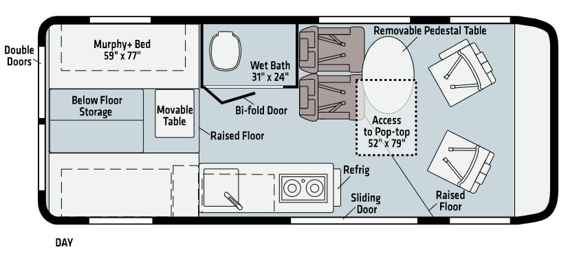 Winnebago Solis camper van layout.