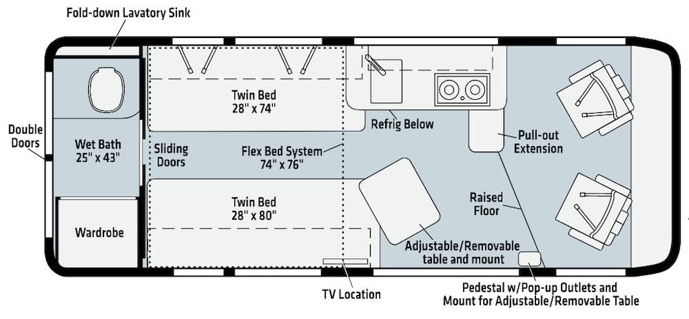 Winnebago Travato class b motorhome floor plans.