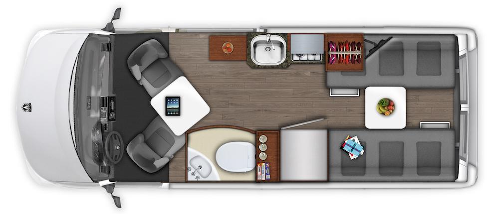 Roadtrek Zion campervan layout plans.