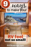 Dining area in an RV with text: 9 ways to make to make your RV feel no so small.