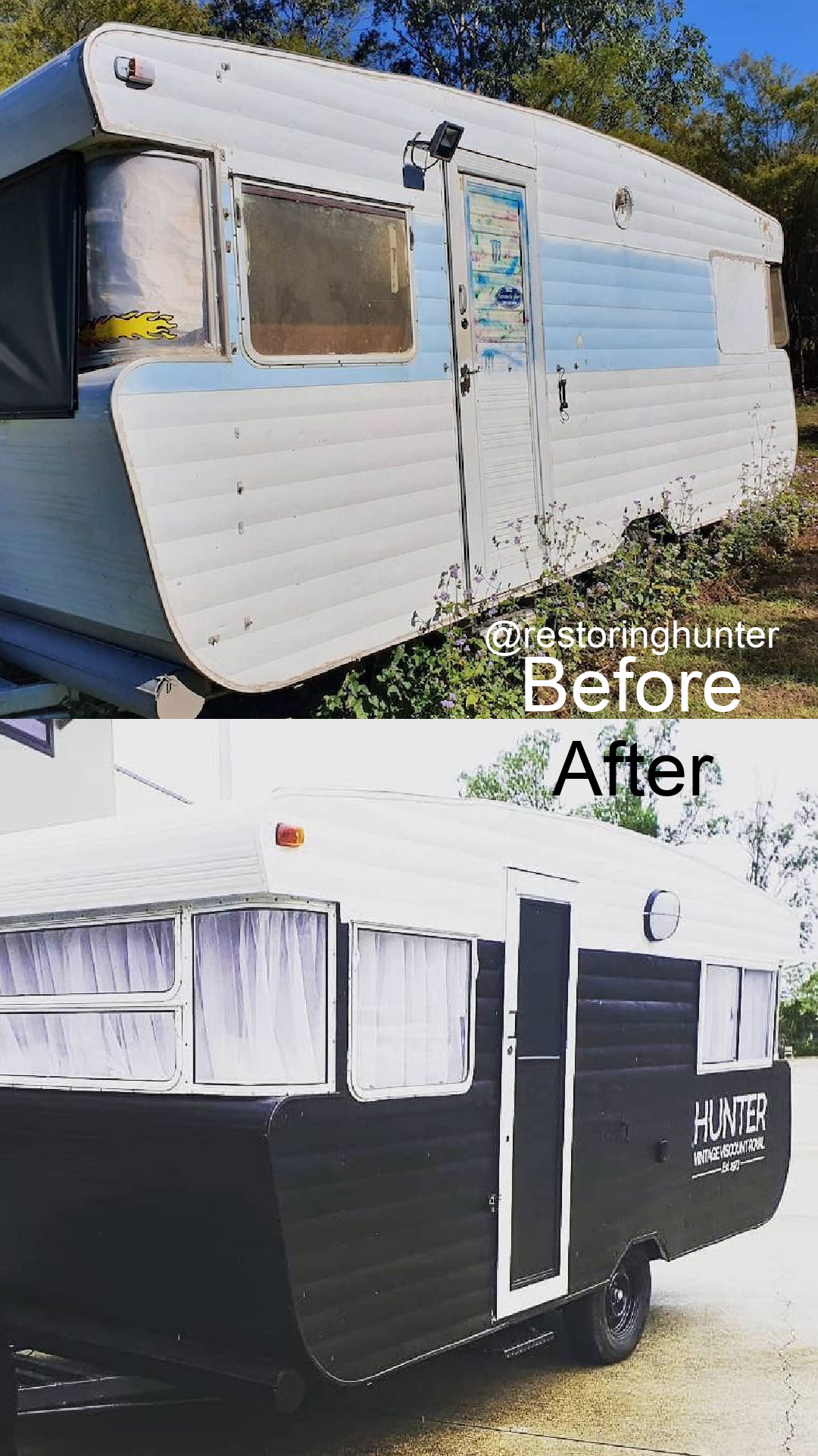 Before and after photos of the exterior of a renovated vintage travel trailer.