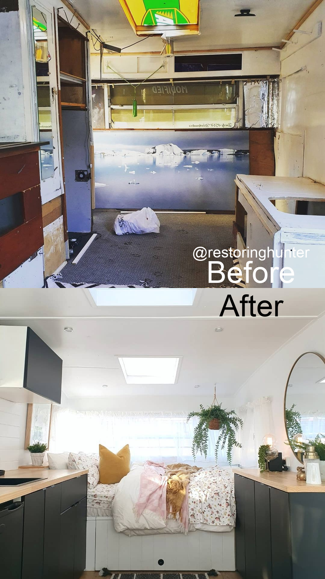 Before and after photos of the interior of a renovated vintage caravan.