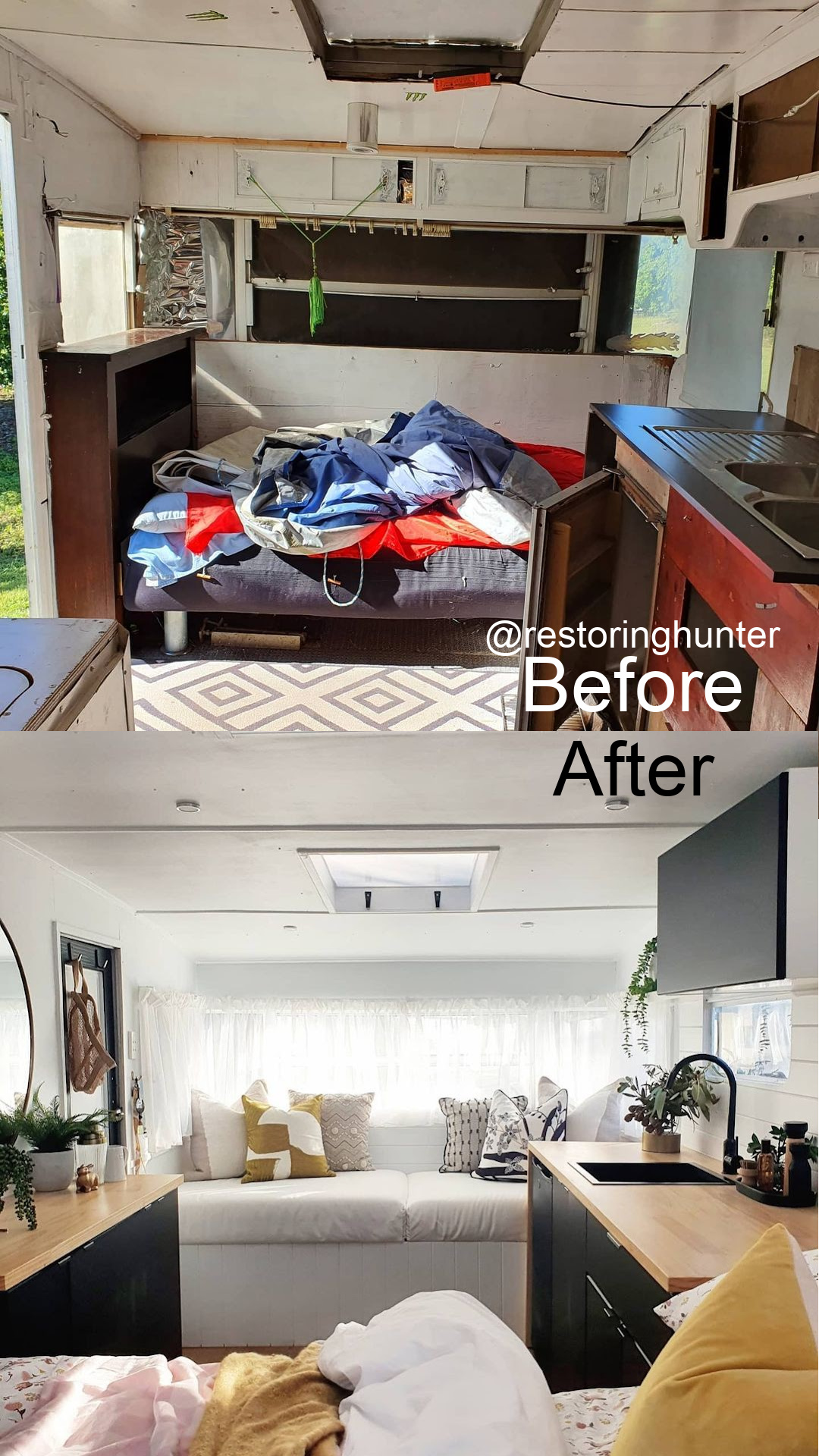 Before and after photos of the interior of a renovated vintage camper.