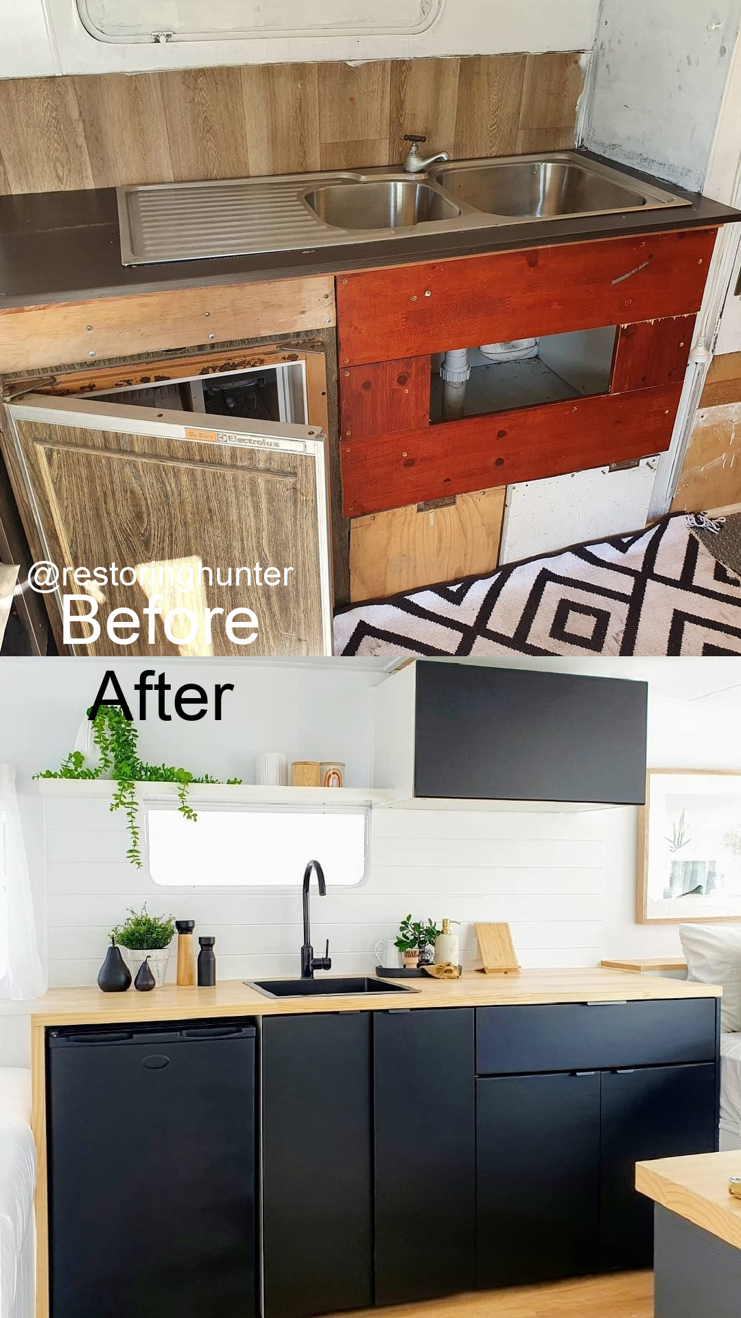 Before and after photos of the interior of a renovated vintage travel trailer.