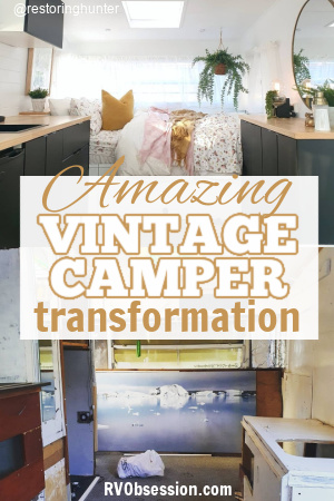 Interior of a remodeled travel trailer with text: Amazing vintage camper transformation.